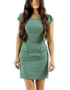 (CLICK IMAGE TWICE FOR DETAILS AND PRICING) Sabina Peplum Dress Sage. Team this dress with nude pumps, a top handle bag and a statement necklace for a work ready look.. See More Casual Dress at http://www.ourgreatshop.com/Casual-Dress-C81.aspx