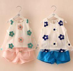 Pas cher Détail 2014 nouveau bébé fille costume coton blanc fleur gilet + rose short bleu 2 pcs set costume d'été pour enfants filles vêtements set, Acheter  Tenues de qualité directement des fournisseurs de Chine: