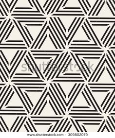 Vector seamless pattern. Modern stylish texture. Repeating tiles with striped triangles. Monochrome geometric background.