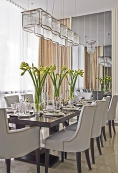 Innovative Suggestions for Dining-room Walls Dining Room Table Diningroom Innovative Suggestions Walls Dining Room Table Decor, Elegant Dining Room, Elegant Home Decor, Dining Room Walls, Dining Room Lighting, Dining Room Design, Dining Chairs, Room Decor, Formal Dining Rooms