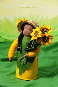 Poppenatelier Severine: Zonnebloempop/Sunflower doll
