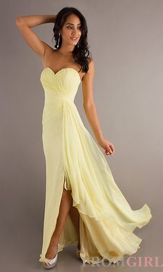 Pale yellow bridesmaid dress.