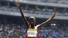 Ruth Jebet, winner of Bahrain's first ever gold medal in the history of Olympic Games in women's 3000 m steeplechase (Rio de Janeiro)