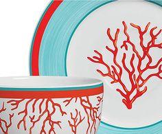 Jogo de Xícaras para Chá com Pires Coral
