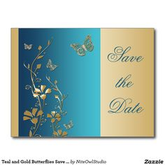 Teal and Gold Butterflies Save the Date Postcard