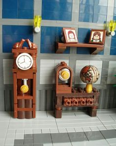 LEGO scene w/ some of my favorite items: Grandfather clock, vintage radio, globe - - -