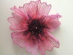 Pink poppy brooch 11cm hand cut, sewn and beaded www.annaliversidge.co.uk
