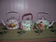 Small Kettle Decoupage by Ruby Cherish Creations