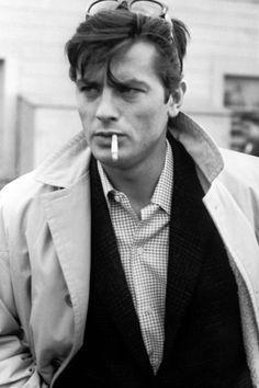 Alain Delon - Once dubbed the 'male Brigitte Bardot' Brigitte Auber, Emmanuelle Béart, French Man, Jean Luc Godard, Actor James, Poses References, Romy Schneider, Jane Birkin, Sean Connery
