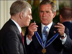 Charleton Heston receives Medal of Freedom from President G.W. Bush.  WAS THRILLED TO SEE MR. HESTON @ LAX WHILE I WAS WOKRING THERE IN THE '80s
