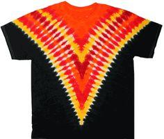 Black,orange, and yellow colors dyed in a wonder V tie dye design. Tie Dye Designs, Shirt Designs, Cool Tie Dye Shirts, Tie Dye Crafts, Batik Fashion, Tie Dye Outfits, How To Tie Dye, Orange Shirt, Tie Dye Patterns