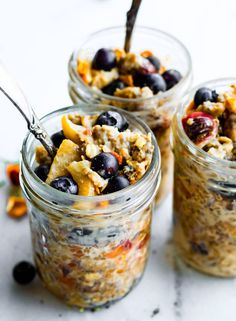 Superfood Instant Pot Oatmeal in a Jar! A healthy breakfast meal prep recipe that's also portable! This 10 minute electric pressure oatmeal recipe is filled with superfoods; such as gluten free rolled oats, apples, walnuts, flaxseed, goji berries, and more. A wholesome breakfast made easy in a multi-cooker with  slow cooker and stove top options. #Vegan option. #slowcooker #instatpot #oatmeal