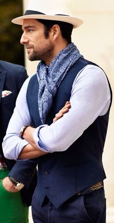 Navy Scarf, Straw Hat, and Navy Vest, very Dapper. Men's Spring Summer Fashion. www.designerclothingfans.com