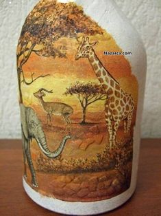 Decoupage bottles in the African style, crafts fromshells, how to make a mosaic of the shell with their own hands, a mosaic made of eggshell on a glass bottle, a detailed master class on decorating bottles in African style . Wine Bottle Art, Glass Bottle Crafts, Painted Wine Bottles, Decoupage Glass, Decoupage Art, Eggshell Mosaic, Egg Shell Art, Wine Bottle Centerpieces, Giraffe Painting
