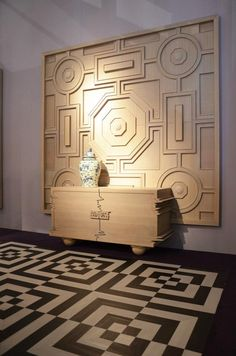 floor pattern wall art large scale carved moulding millwork detail