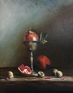 Stilleven met granaatappels