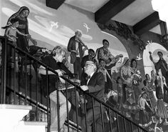 """Leo Politi standing in front of """"Blessing of Animals"""" mural on the Biscailuz Building, 1979 #ElPuebloLA"""