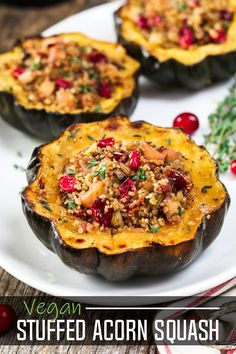 Quinoa Stuffed Acorn Squash Quinoa Stuffed Acorn Squash an all-in-one meal thats bursting with fall flavors! The post Quinoa Stuffed Acorn Squash appeared first on Vegan. Thanksgiving Recipes, Fall Recipes, Whole Food Recipes, Vegan Recipes, Cooking Recipes, Vegetarian Christmas Recipes, Vegetarian Thanksgiving Main Dish, Vegan Christmas Dinner, Fall Dinner