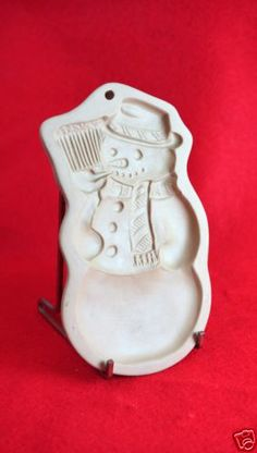 Snowman 1989 Brown Bag Cookie Art Mold Vintage Stoneware   eBay