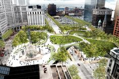 Field Operations - visualisation of one concept to regenerate downtown cleveland through an integrated park