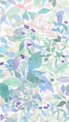 Mint blush lilac watercolour leaves iphone phone wallpaper background lock screen