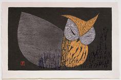 Kaoru KAWANO (1916-1965): Moonlight Night, Sleeping Owl Woodblock Print, Moonlight, Owl, Objects, Sleep, Japanese, Night, Gallery, Artwork