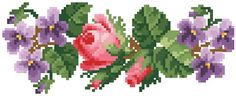 Cross Stitch Rose, Cross Stitch Embroidery, Diy Flowers, Pansies, Needlepoint, Handmade, Design, Models, Towels