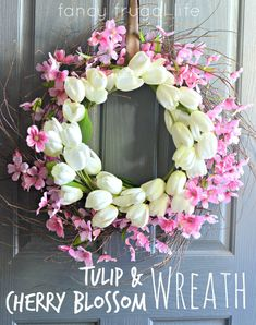 Easy Tulip and Cherry Blossom Wreath by Lina @ Fancy Frugal Life