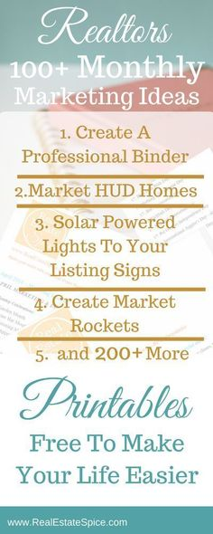 Real Estate Marketing Ideas With 2019 Unique Themes and Dates Get Real Estate Leads Fast w These 100 Marketing Techniques. Estate Marketing Estate Marketing Ideas Marketing Estate Agent Estate motivation tips Estate Tools Help Real Estate Career, Real Estate Office, Real Estate Leads, Selling Real Estate, Real Estate Tips, Real Estate Investing, Real Estate Staging, Real Estate Business Plan, Real Estate School
