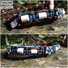 EM Keramik Halsband zur Zeckenabwehr. Mit Blümchen- Beads  #keramik #halsband #paracord #hunde #emkeramik