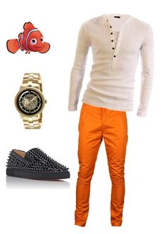 """Orange Fresh"" by joshua-ernest-lonneberg on Polyvore featuring Humör, Christian Louboutin, Kenneth Cole, men's fashion and menswear"