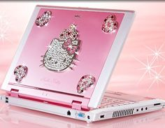 Computer maker NEC is showing off a new pink Hello Kitty-branded notebook with glittering crystals, aimed at working women. Japanese-animated cat Hello Kitty is hugely successful around the world, particularly among young girls Images Hello Kitty, Chat Hello Kitty, Hello Kitty House, Pink Hello Kitty, Hello Kitty Items, Here Kitty Kitty, Cute Pink, Pretty In Pink, Hello Kitty Collection