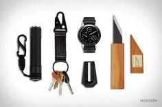 Wakashishi Kiridashi Craft Knife ($9). Ressence Type 3 Watch ($37,125). M&U Co. Money Clip ($38). Killspencer Snaphook Keychain ($55). Nite Ize Inova Flashlight ($18)....