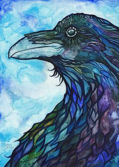 Raven 5 x 7 print turquoise blue purple watercolour animal spirit totem bird magic painting nature wildlife watercolor crow art artwork