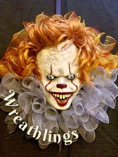 """Excited to share the latest addition to my shop: Pennywise halloween christmas wreath """"it"""" movie Scary Halloween Wreath, Halloween Wall Decor, Scary Halloween Decorations, Halloween Signs, Outdoor Halloween, Halloween Season, Halloween Christmas, Halloween Crafts, Christmas Wreaths"""