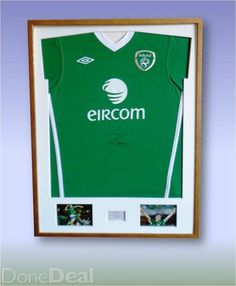 WELCOME TO ICONS.IE, SPORT MEMORABILIA ARTISTIC FRAMINGUnique Shirt Framing and Sports Memorabilia Framing ServiceWe offer a football shirt framing service and have a huge selection of frames and mounts to encase your football shirt. We are able to frame a football shirt in one of many styles, have a look at the pictures showing different styles of framed football shirts.Dimensions:Frame size: 80 cm x 60 cm.  Picture's size: 10 cm x 15 cm.Place on engraved plate or print : 6cm x 3cm.frames