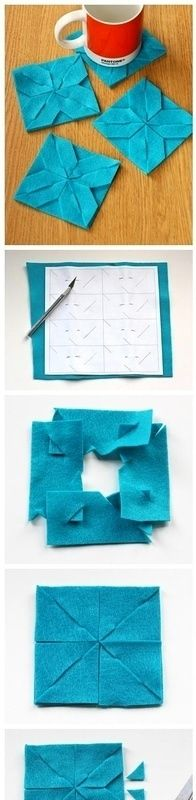 不织布版的杯垫,做法详细,易操作。【阿团丸子…_来自OrangeFifi的图片分享