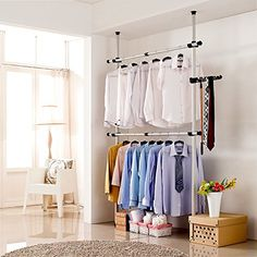 Portable Indoor Garment Rack Tools-free DIY Coat Hanger Clothes Wardrobe 2 Poles 2 Bars. Heavy Duty Stainless Steel Poles and Bars. 60kg Loading per Horizontal Bar. Free 105cm Reach Hook Included.Space Fit and Saver. Goldcart http://www.amazon.com/dp/B011KB8P5O/ref=cm_sw_r_pi_dp_1yuexb046GYS0