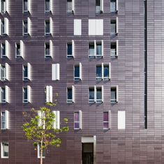 Built by BP Architectures in Paris, France with date Images by Sergio Grazia. There were two challenges in designing the project: having to mix four different uses - school, culture, housing. Brick Architecture, Architecture Photo, Contemporary Architecture, Building Windows, Building Skin, Insulation Materials, Social Housing, Unique Buildings, Facade Design