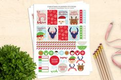 These FREE printable Christmas stickers for your planner are so cute! These stickers fit the Happy Planner and similar sized planners. Free Planner, Happy Planner, Year Planner, Planner Ideas, Planner Diy, Passion Planner, Planner Inserts, Grumpy Cat Christmas, Free Christmas Printables