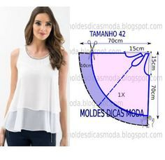 Blusa branca gode molde e costura - The Most Beautiful Shares Sewing Dress, Dress Sewing Patterns, Blouse Patterns, Clothing Patterns, Blouse Designs, Fashion Sewing, Diy Fashion, Costura Fashion, Sewing Blouses