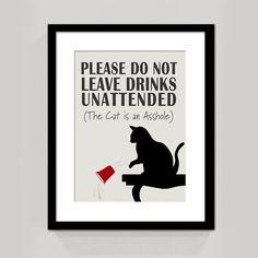 Cat Is An A   Cat Sign   Funny Cat Wall Art   Cat Decor   Cat Poster   Cat  Quote   Mature Content : ClassicJanes   Etsy