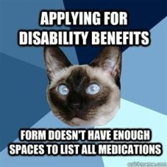 applying for disability... form doesnt have enough spaces to list all medications. lol #EDS #chronicpain #hypermobility