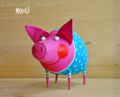 Pig in pajamas by MarLitoys on Etsy