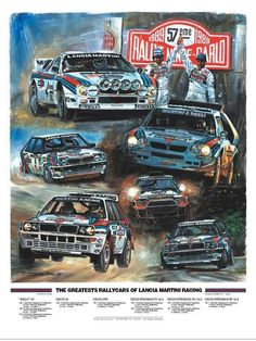 The Greatest Rally Cars of Lancia Martini Racing Monte Carlo, Sport Cars, Race Cars, Rallye Automobile, Martini Racing, Lancia Delta, Car Illustration, Car Posters, Car Drawings