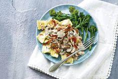 Kijk wat een lekker recept ik heb gevonden op Allerhande! Ravioli met paddenstoelen en pancetta