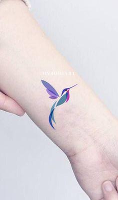 Watercolor hummingbird wrist tattoo ideas for women - beautiful colorful color block bird arm tat - Bird Tattoos Arm, Bird Tattoo Wrist, Hand Tattoo, 1 Tattoo, Body Art Tattoos, New Tattoos, Girl Tattoos, Tattoos For Guys, Tattoos For Women