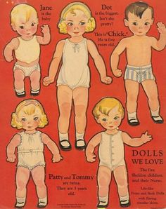 Dolls We Love - The Five Sheldon Children and Their Nurse Paper Dolls - Merrill Publishing Co.: Back Cover