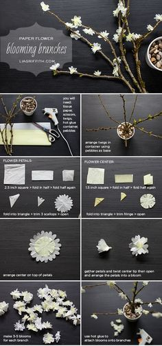 DIY Paper Flower Blooming Branches