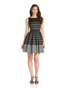 Taylor Dresses Women's Stripe Fit-And-Flare Dress